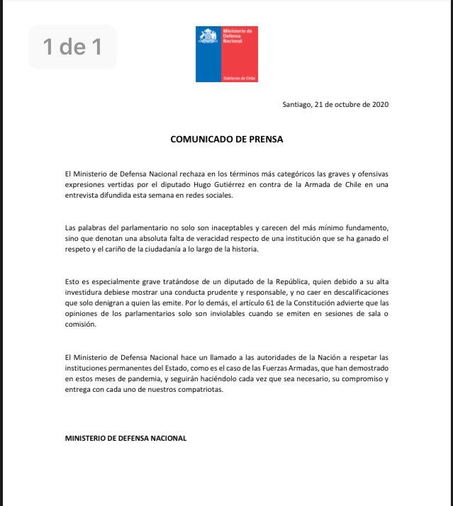 Ministerio de Defensa se refiere a los dichos del diputado Hugo Gutiérrez.