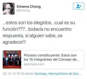 Pantallazo de Twitter de Ximena Chong.