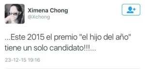 Pantallazo de Twitter de Ximena Chong
